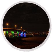 Ocean City Bridge - Lit Up For Orlando Round Beach Towel