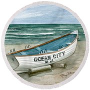 Ocean City Lifeguard Boat Round Beach Towel