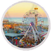 Ocean City New Jersey Boardwalk And Music Pier Round Beach Towel