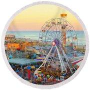 Ocean City New Jersey Boardwalk And Music Pier Round Beach Towel