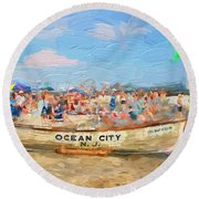 Ocean City Rescue Boat 2 Round Beach Towel
