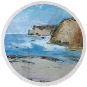 Round Beach Towel featuring the painting Ocean Cliffs by Gary Coleman