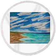 Ocean Clouds Round Beach Towel