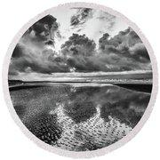 Ocean Clouds Reflection Round Beach Towel