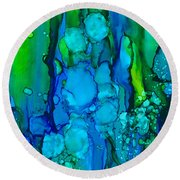 Round Beach Towel featuring the painting Ocean Depths by Nikki Marie Smith