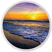 Ocean Drive Sunrise Round Beach Towel by David Smith