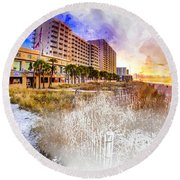 Ocean Drive Sunrise Watercolor Round Beach Towel