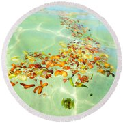 Round Beach Towel featuring the photograph Ocean Flowers Oval by Linda Hollis