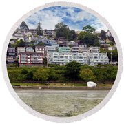 Ocean Front Homes In White Rock Bc Round Beach Towel