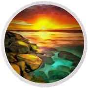 Ocean Lit In Ambiance Round Beach Towel