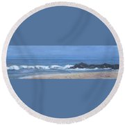 Ocean Meets Jetty Round Beach Towel