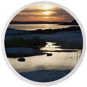 Ocean Point Sunset In East Boothbay Maine  -23091-23093 Round Beach Towel