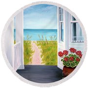 Ocean Porch View And Geraniums Round Beach Towel
