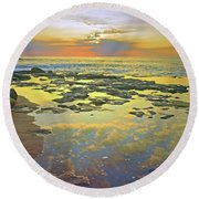 Round Beach Towel featuring the photograph Ocean Puddles At Sunset On Molokai by Tara Turner