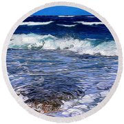 Ocean Scene In Abstract 14 Round Beach Towel