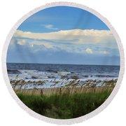 Ocean, Sky, Sea Oats Round Beach Towel