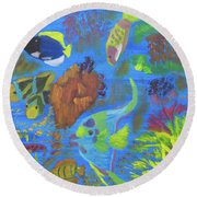 Round Beach Towel featuring the painting Ocean Snowglobe by Meryl Goudey