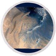 Round Beach Towel featuring the painting Ocean by Steve Karol