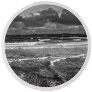 Round Beach Towel featuring the photograph Ocean Storms by Nicholas Burningham