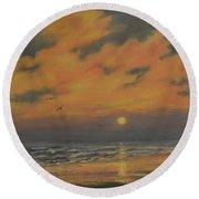 Ocean Sundown Round Beach Towel by Kathleen McDermott