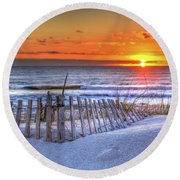 Ocean Sunrise From The Dunes Round Beach Towel