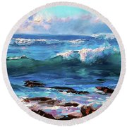Coastal Ocean Sunset At Turtle Bay, Oahu Hawaii Beach Seascape Round Beach Towel