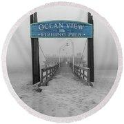 Ocean View Pier Partial Color Round Beach Towel