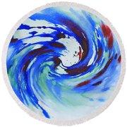 Ocean Wave Watercolor Round Beach Towel