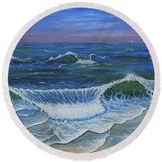 Round Beach Towel featuring the painting Ocean Waves Dance At Dawn Original Acrylic Painting by Georgeta Blanaru