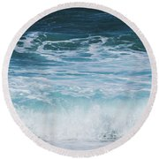 Ocean Waves From The Depths Of The Stars Round Beach Towel by Sharon Mau