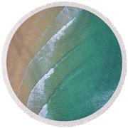 Ocean Waves Upon The Beach Round Beach Towel
