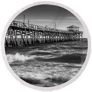 Round Beach Towel featuring the photograph Oceana Ocean Crest Fishing Pier In Nc Panorama In Bw by Ranjay Mitra