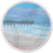 Oceanic Pier At Wrightsville Beach Round Beach Towel