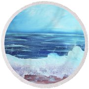 Oceans Fall Round Beach Towel
