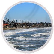 Round Beach Towel featuring the photograph Oceanside by AJ Schibig