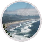 Oceanside Beach Oregon Round Beach Towel