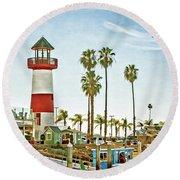 Oceanside Harbor Lighthouse Round Beach Towel
