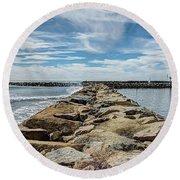Oceanside Jetty Round Beach Towel