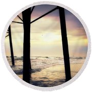 Round Beach Towel featuring the photograph Oceanside - Late Afternoon by Glenn McCarthy