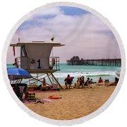 Oceanside Lifeguard Round Beach Towel