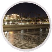 Oceanside Night Round Beach Towel by Suzanne Oesterling