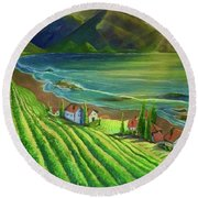 Sunset Vineyard  Round Beach Towel