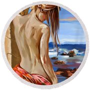 Oceanview Round Beach Towel by Tim Gilliland