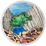 Ocellated Frogfish Round Beach Towel