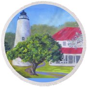 Ocracoke Lighthouse Round Beach Towel