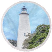 Ocracoke Lighthouse Round Beach Towel by Marion Johnson
