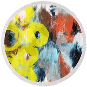 October- Abstract Art By Linda Woods Round Beach Towel