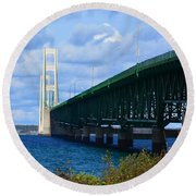 October At The Straits Of Mackinac Round Beach Towel