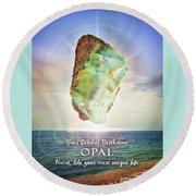 October Birthstone Opal Round Beach Towel