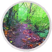 October Forest Pathway Round Beach Towel